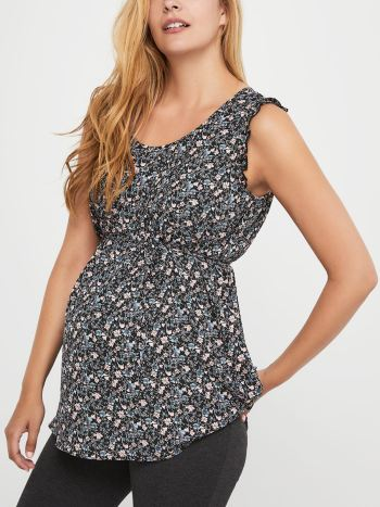 Stork & Babe - Printed Maternity Blouse with Pintuck