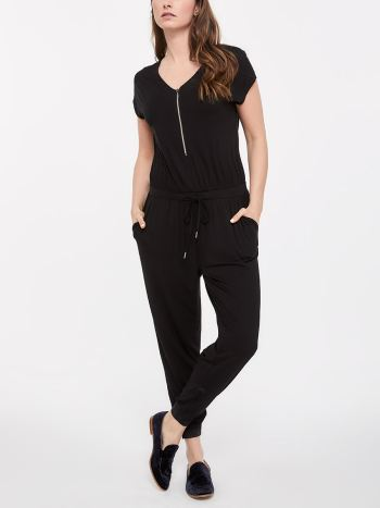 Short Sleeve Nursing Jumpsuit with Front Zip