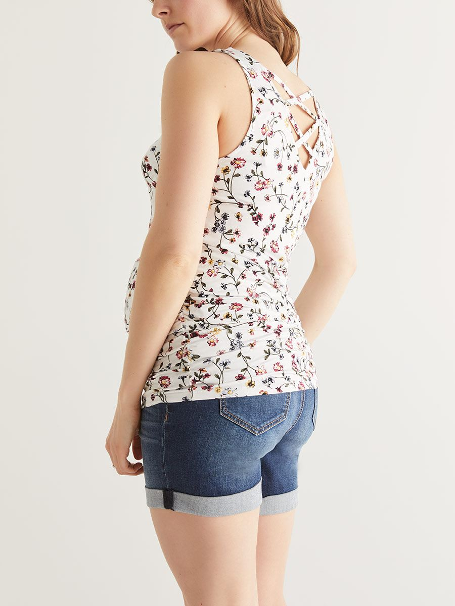 Floral Maternity Top with Criss-Cross Back