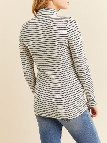 Striped Long Sleeve Ribbed Mock-Neck Maternity Top