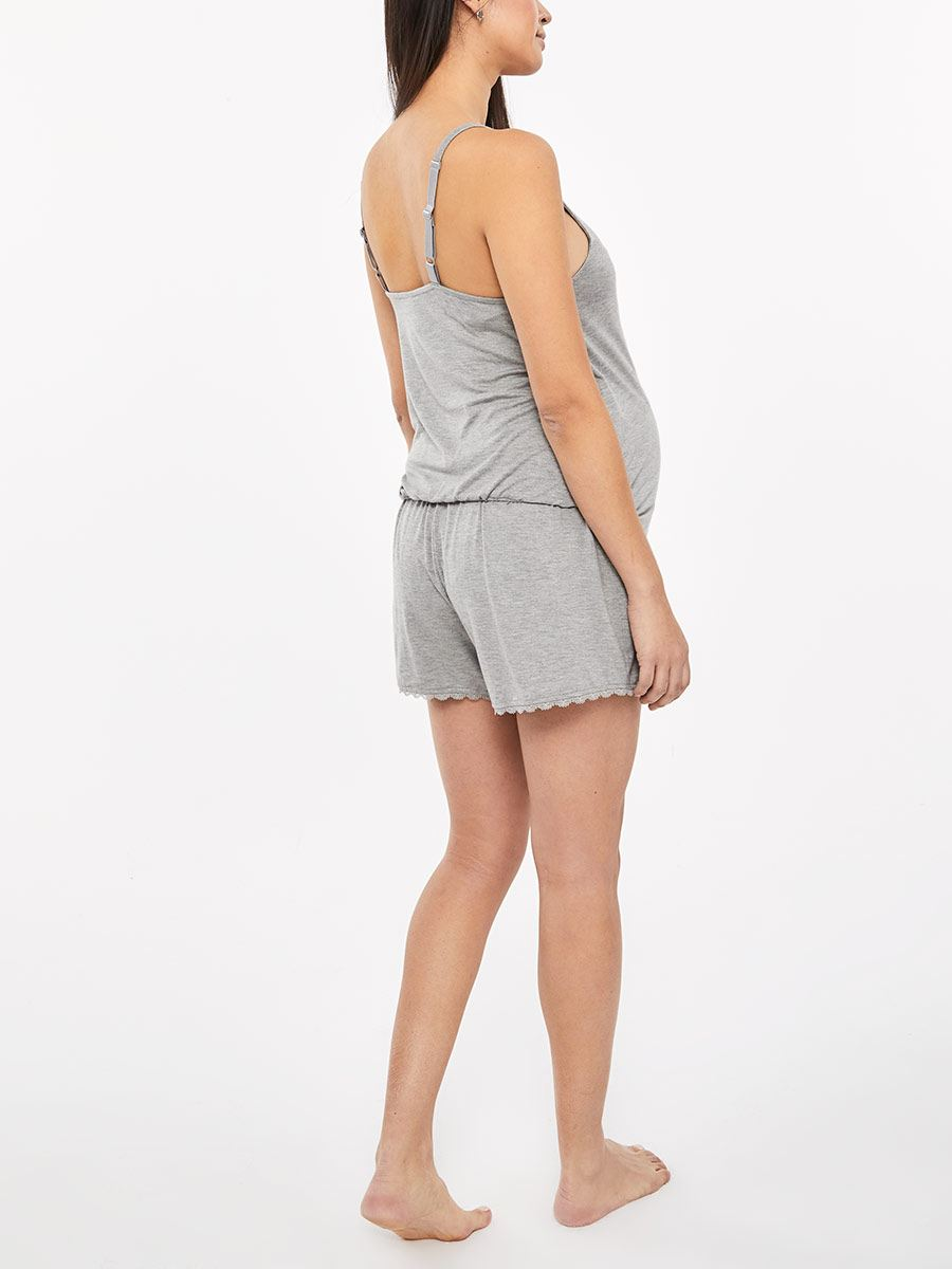 Maternity Pyjama Romper with Front Wrap and Lace