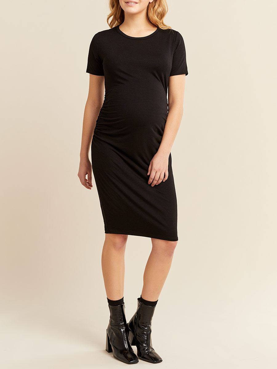 Ruched Short Sleeve Maternity Dress