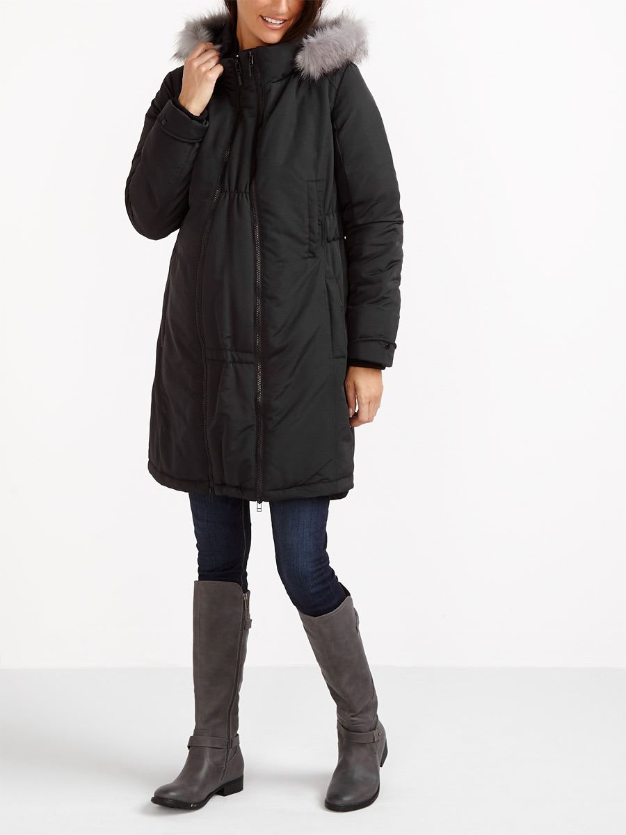 Parka Maternity Coat with Extender Panel