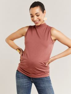 Sleeveless Mock Neck Nursing & Maternity Top
