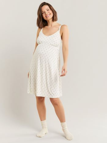 Polka Dot Nursing Nightgown with Empire Waist