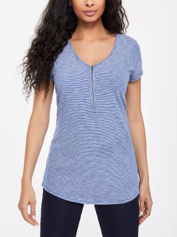 Striped Short Sleeve Nursing Top