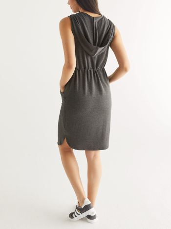 Sleeveless Hooded Maternity Dress