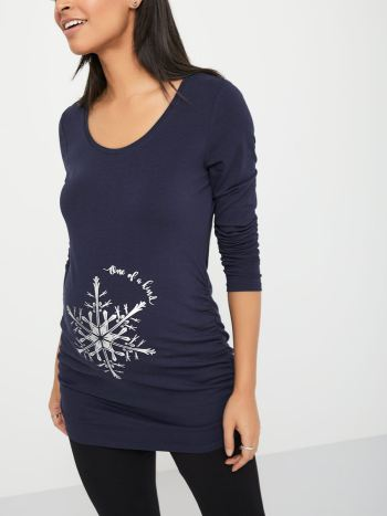 Long Sleeve Cotton Maternity T-Shirt with Snowflake Motif