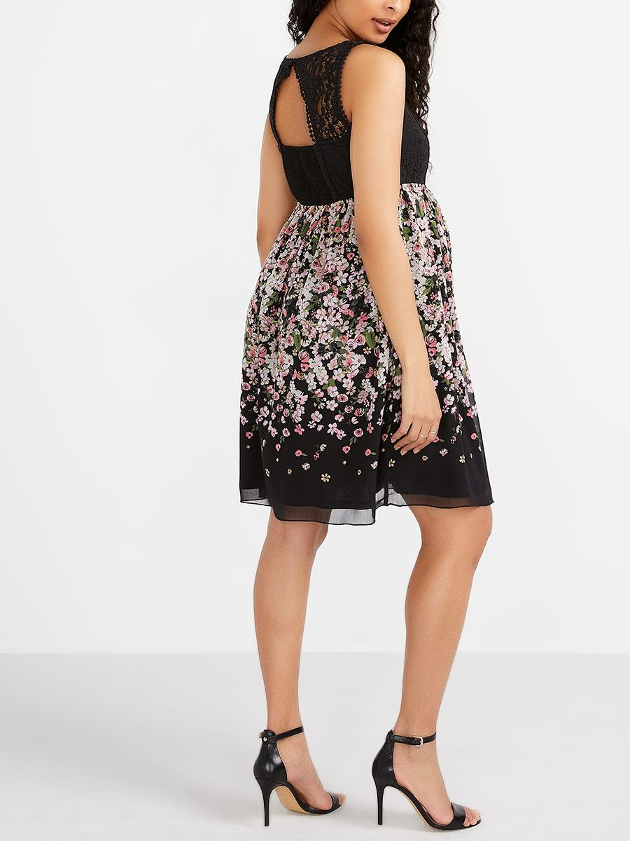 Stork & Babe - Printed Maternity Dress with Crochet