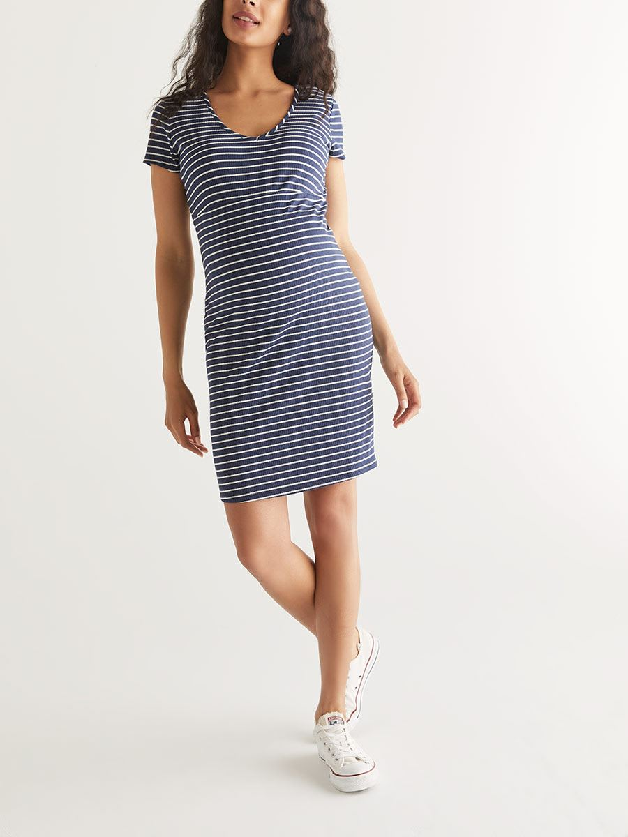 Striped Short Sleeve Maternity Dress
