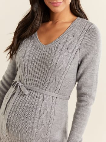 Long Sleeve Cable Knit Maternity Dress