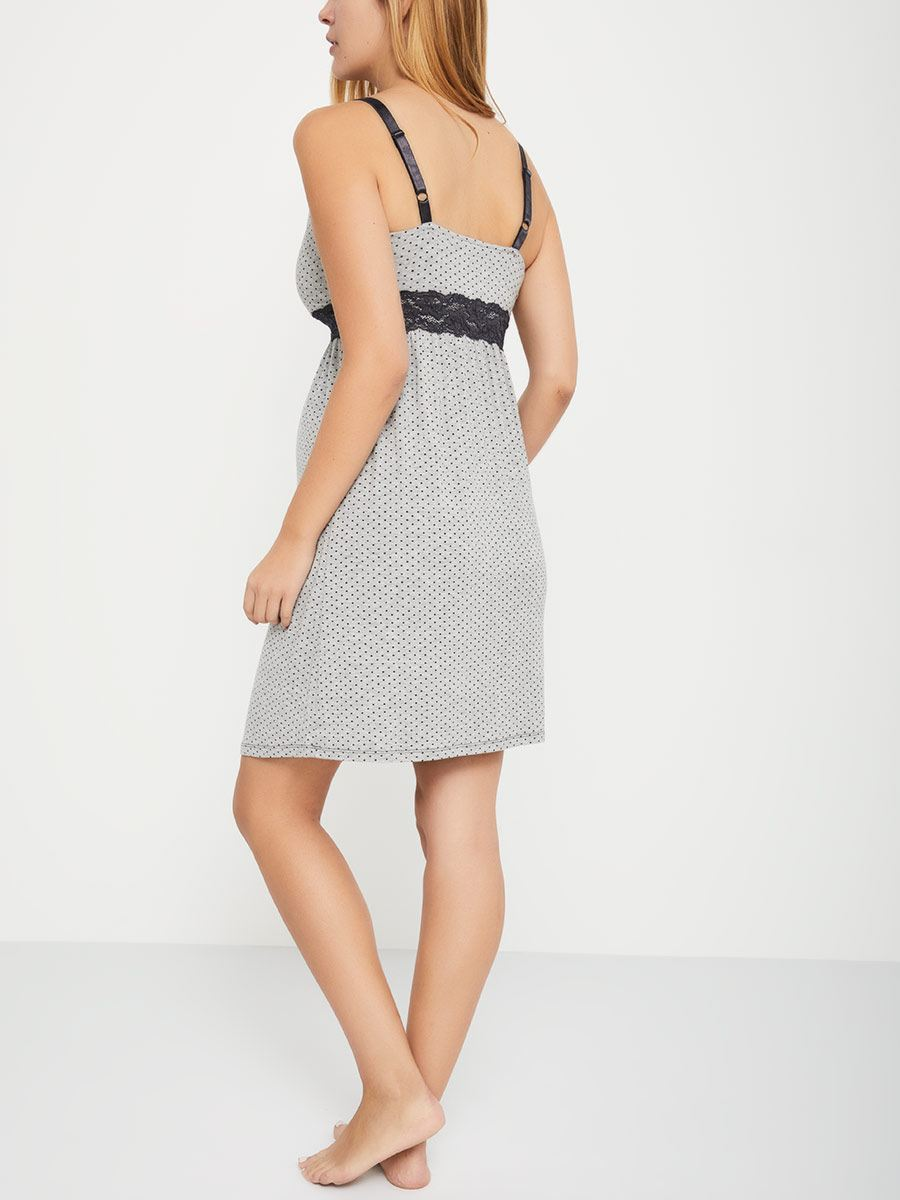Short Printed Nursing Nightdress with Lace