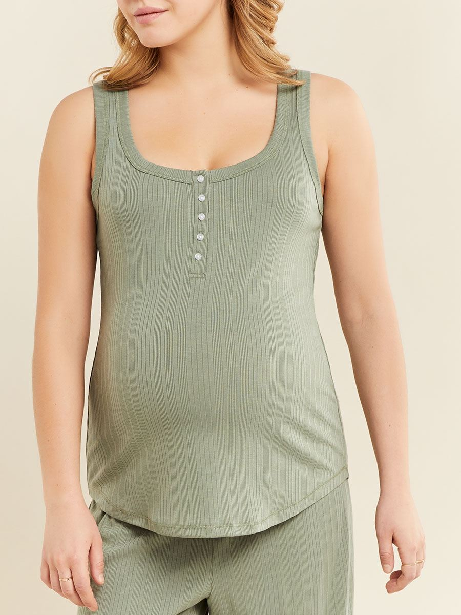Sleeveless Henley Nursing Pyjama Top