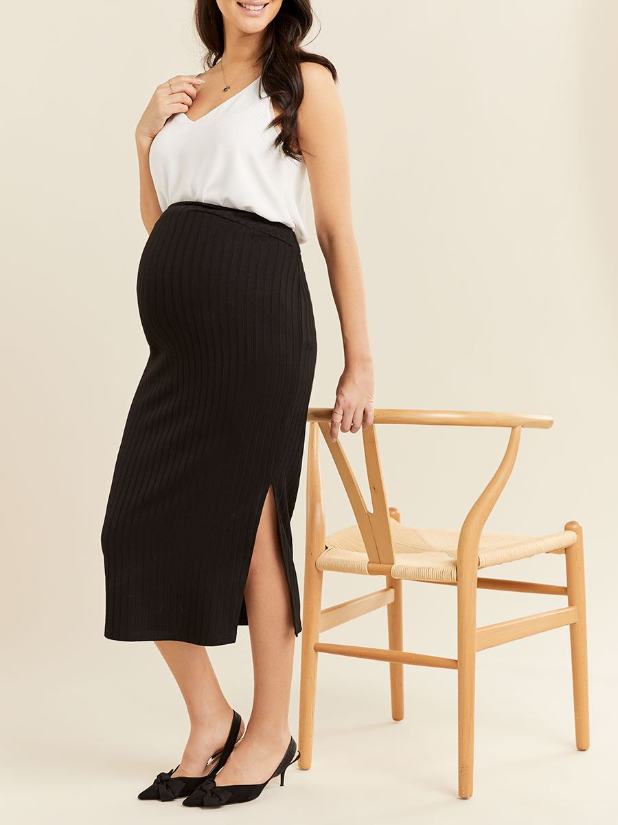 Ribbed Maternity Pencil Skirt