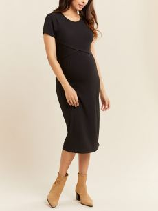 Short Sleeve Ribbed Midi Maternity Dress