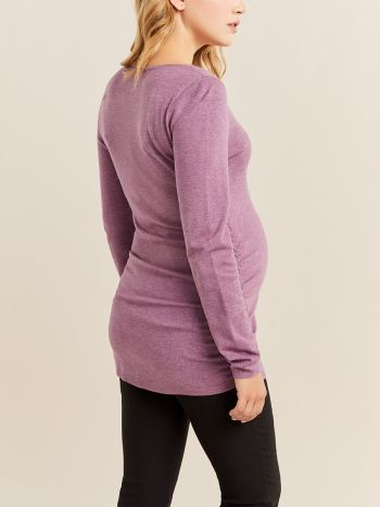 Stork & Babe - Ruched Long Sleeve Maternity Sweater