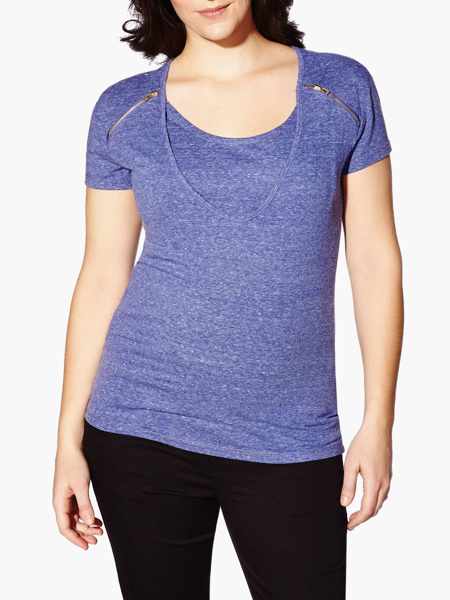 6764464900e Short Sleeve Nursing Top with Zipper Detail | Thyme Maternity