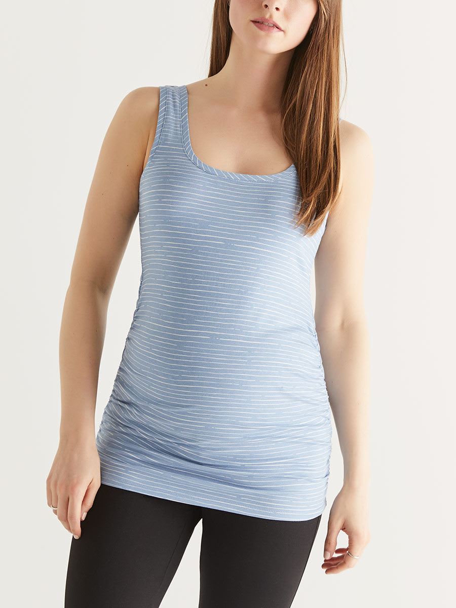 Striped Ruched Maternity Tank Top