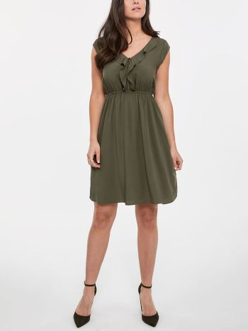 Cap Sleeve Ruffle Fit and Flare Nursing Dress