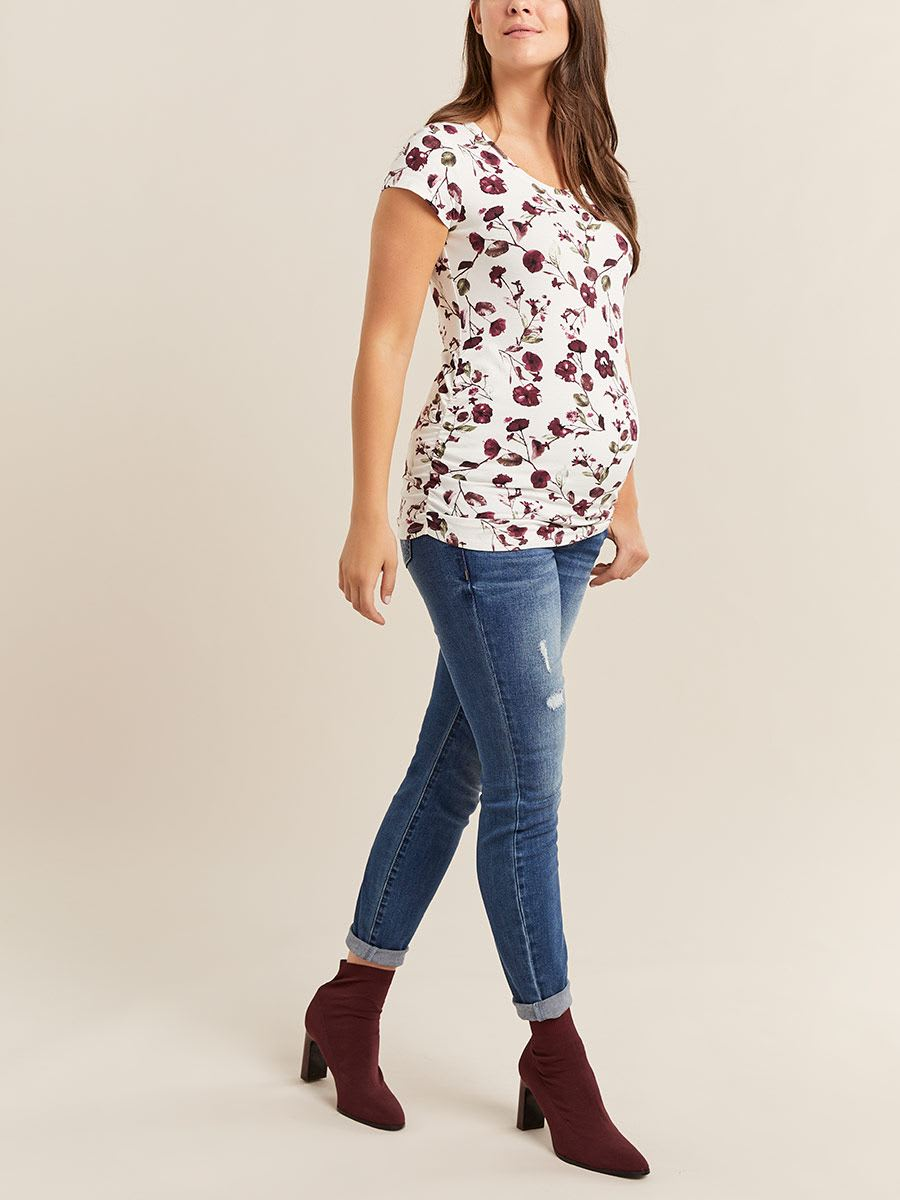 Printed Scoop Neck Maternity Top