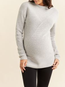 Long Sleeve Mock-Neck Maternity Sweater