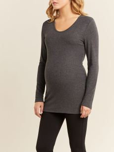 Long Sleeve Ribbed Maternity Top