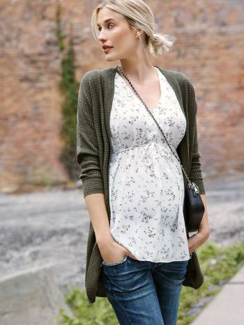 Printed Maternity Blouse with Crochet Trim