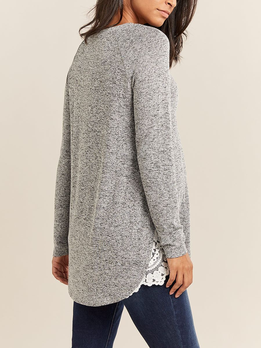 Long Sleeve Nursing Top with Lace