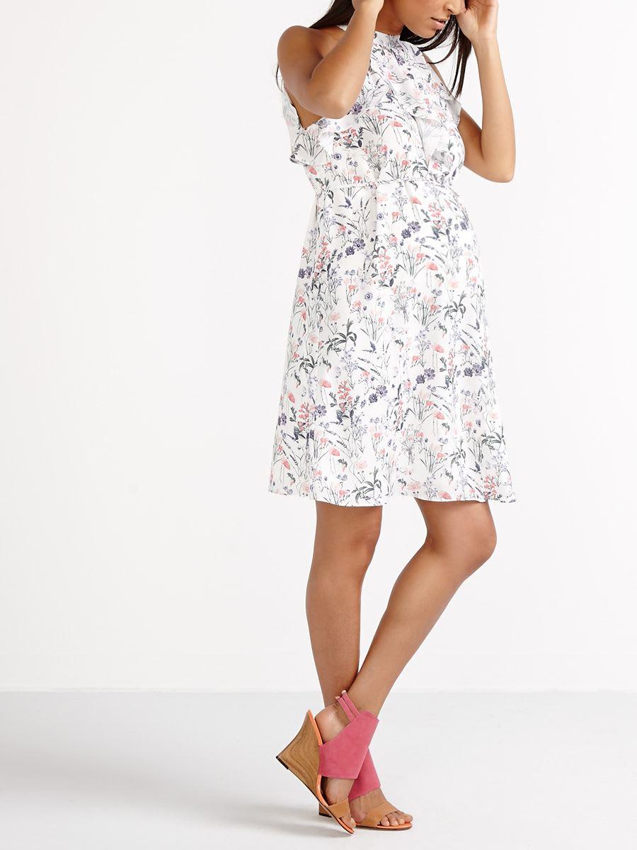 da8241241a0 Sleeveless Ruffled Printed Maternity Dress