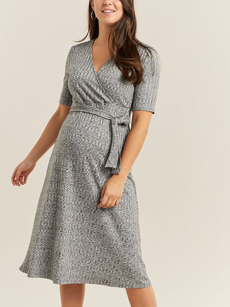 Fit and Flare Wrap Maternity Dress