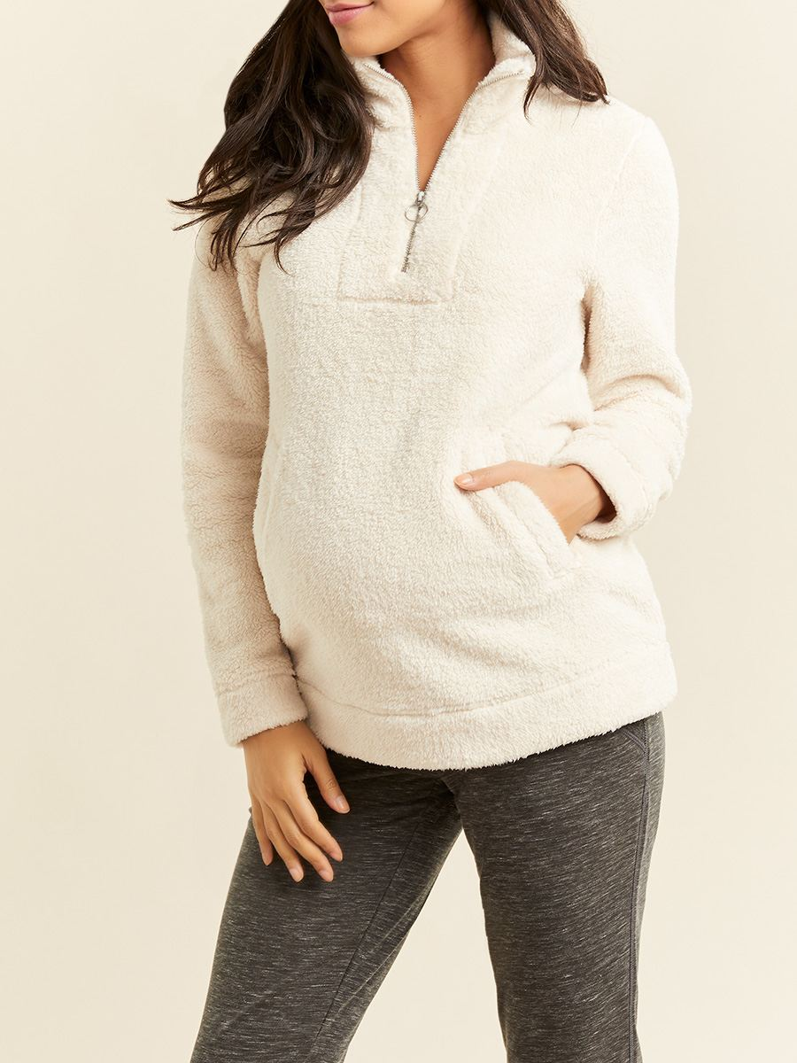 Long Sleeve Mock-Neck Sherpa Maternity Top