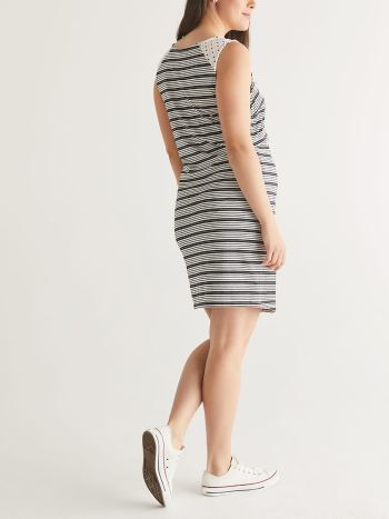 Sleeveless Striped Layered Nursing Dress