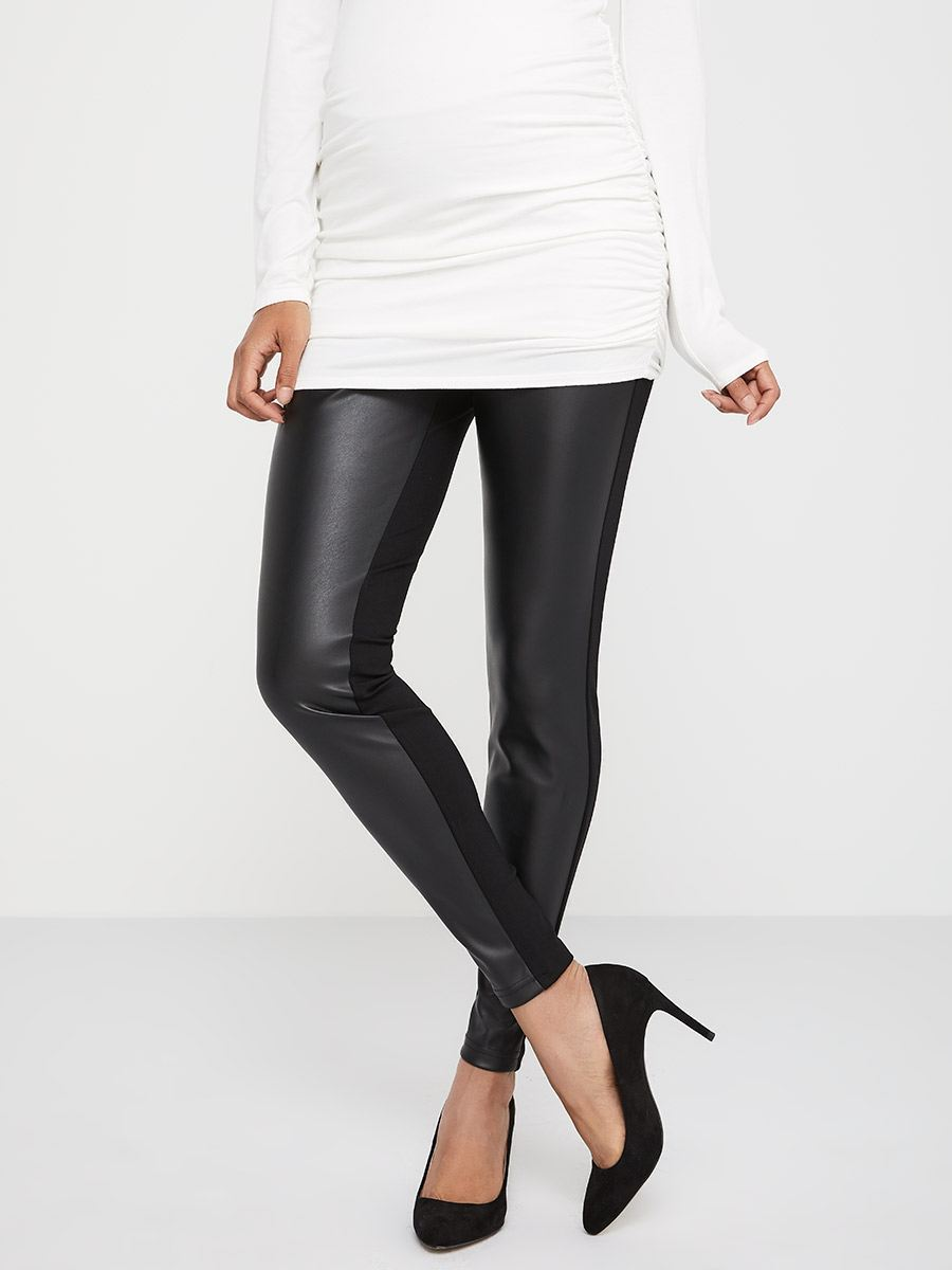 92848fa602ea1 Stork & Babe - Ponte de Roma and Faux-Leather Skinny Maternity Pant ...