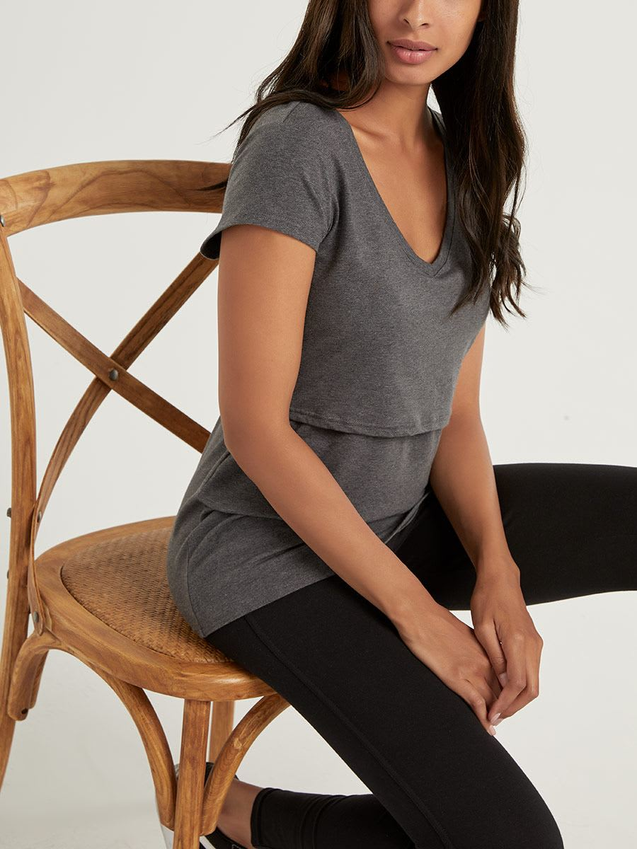 Cotton Nursing & Maternity T-Shirt with Cap Sleeves