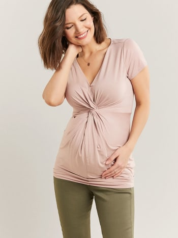Short Sleeve Maternity Top with Front Knot