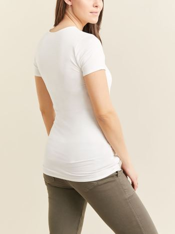 Short Sleeve Maternity T-Shirt with Round Neckline