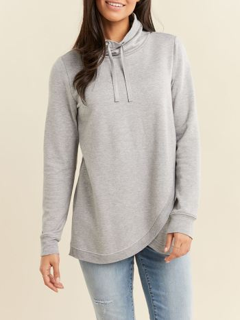 Long Sleeve Cowl-Neck Crossover Nursing Top