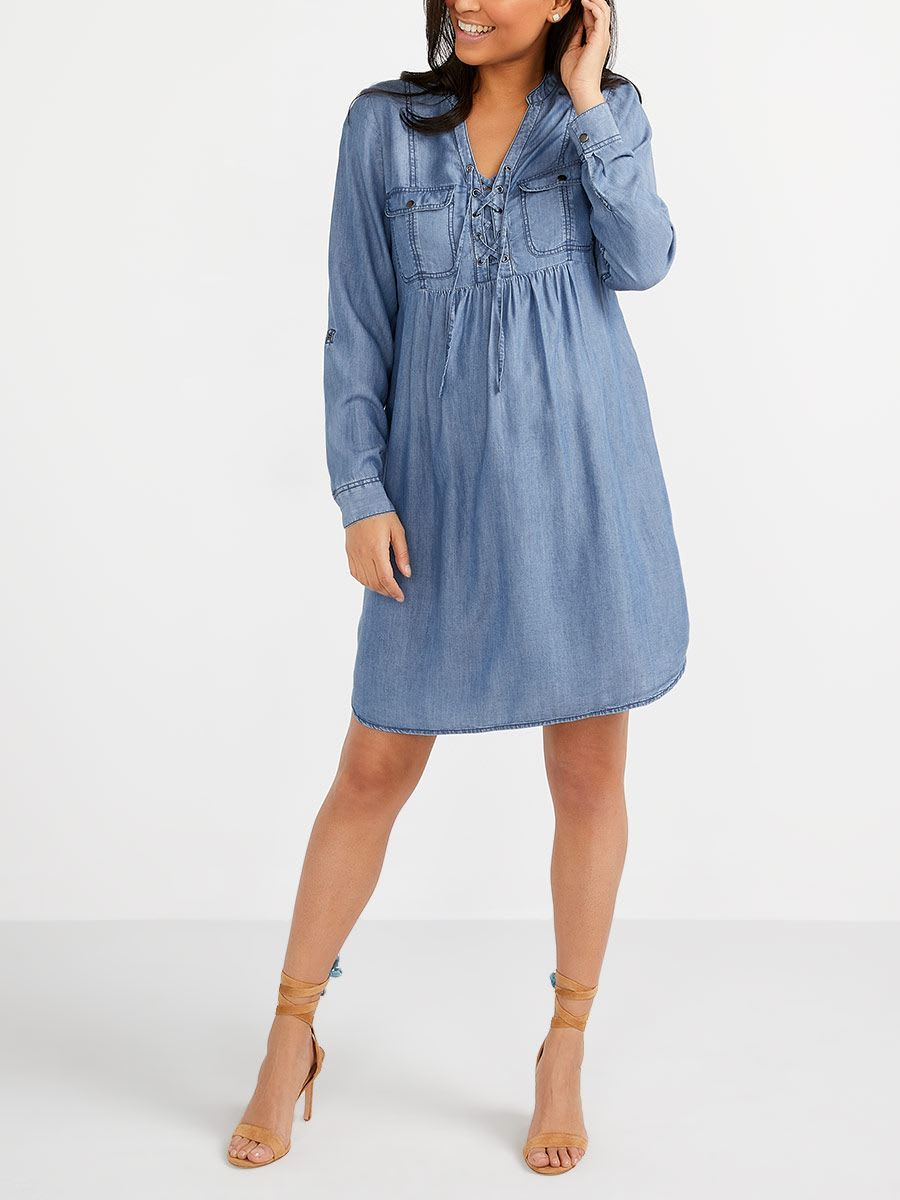 Tencel Maternity Shirtdress