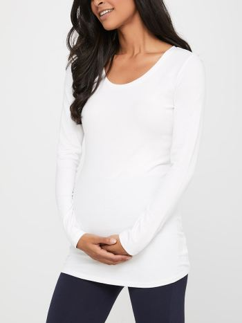 Long Sleeve Scoop Neck Maternity T-Shirt