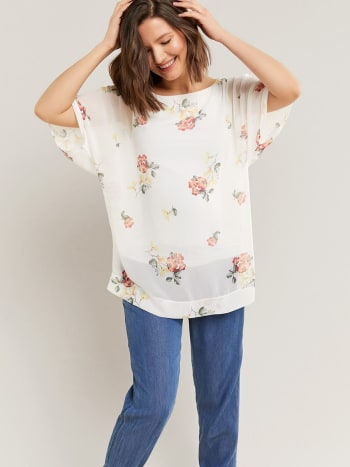 Chiffon Maternity Blouse with Dolman Sleeve