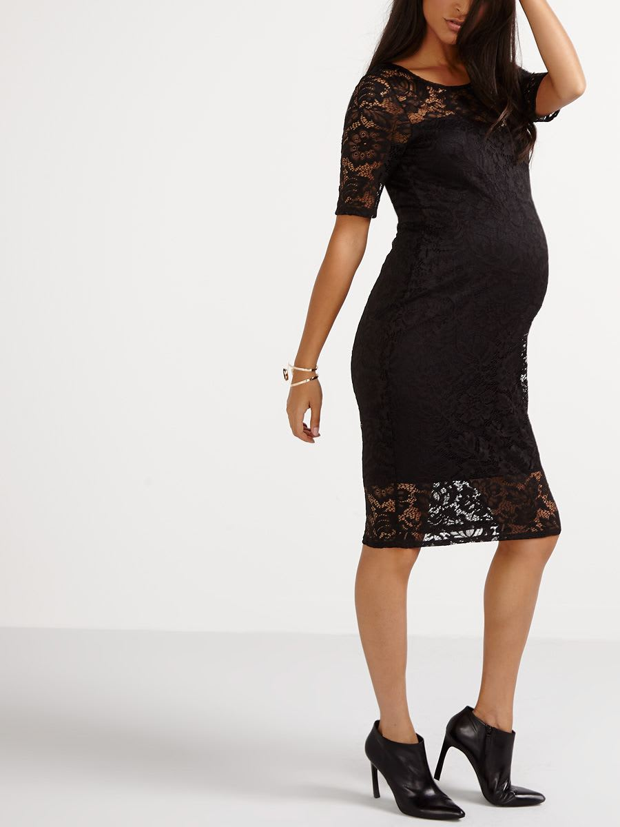 07301860df Stork   Babe - Lace Bodycon Maternity Dress