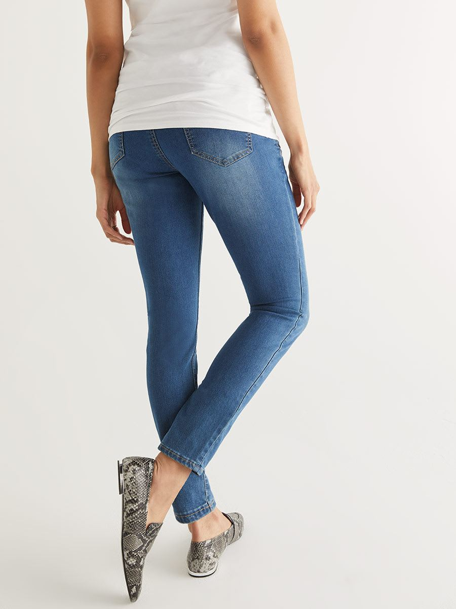 Medium Wash Super Skinny Maternity Jean - Petite