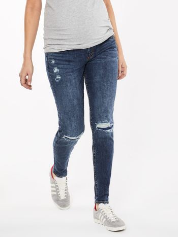 Silver Jeans - Dark Distressed Maternity Jean