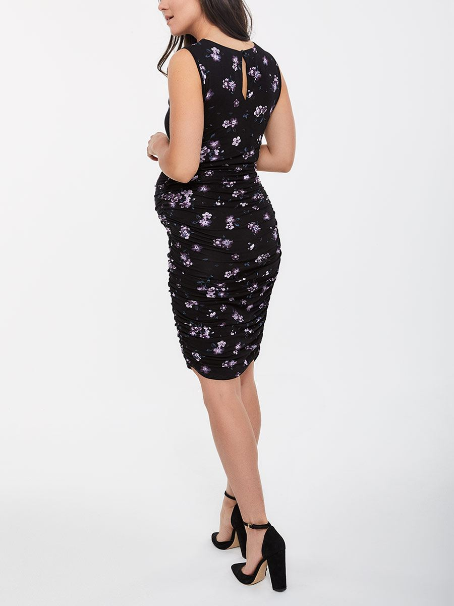 Stork & Babe - Printed Sleeve Maternity Dress with Lace
