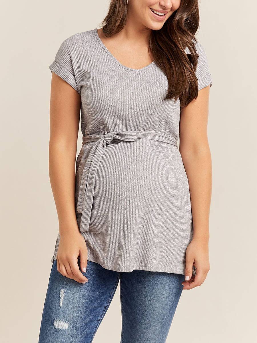 Ribbed Maternity Top with Belt
