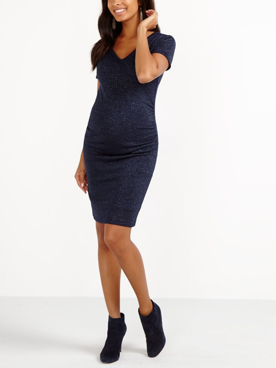 Short Sleeve Two-Way Knit Maternity Dress