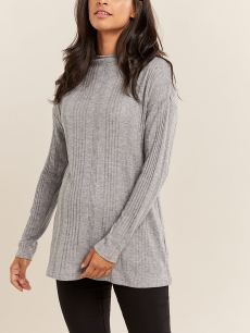 Ribbed Funnel Neck Maternity Top