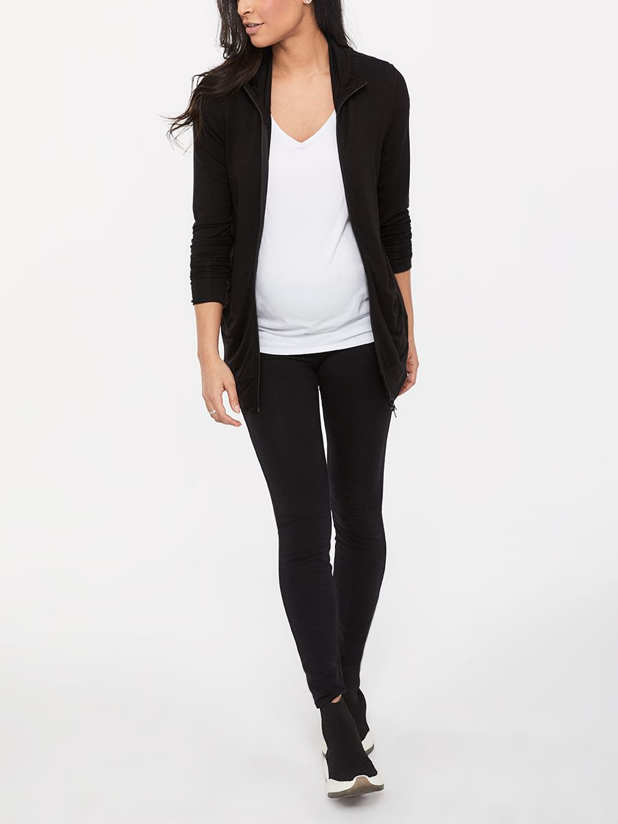 Long Sleeve Front Zip Maternity Cardigan