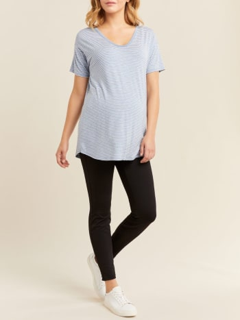 Basic Striped Short Sleeve Maternity Top