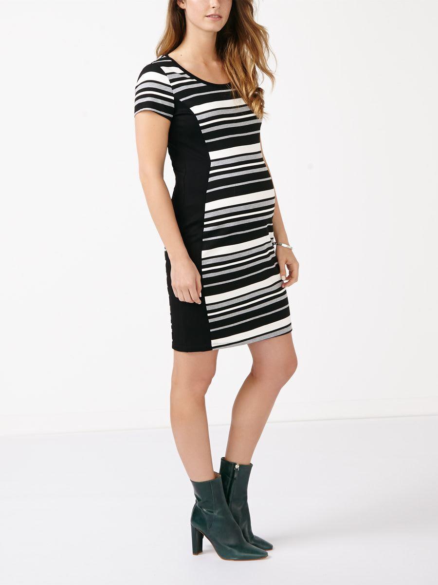 0799460f3fd48 Stork   Babe - Striped Maternity Bodycon Dress